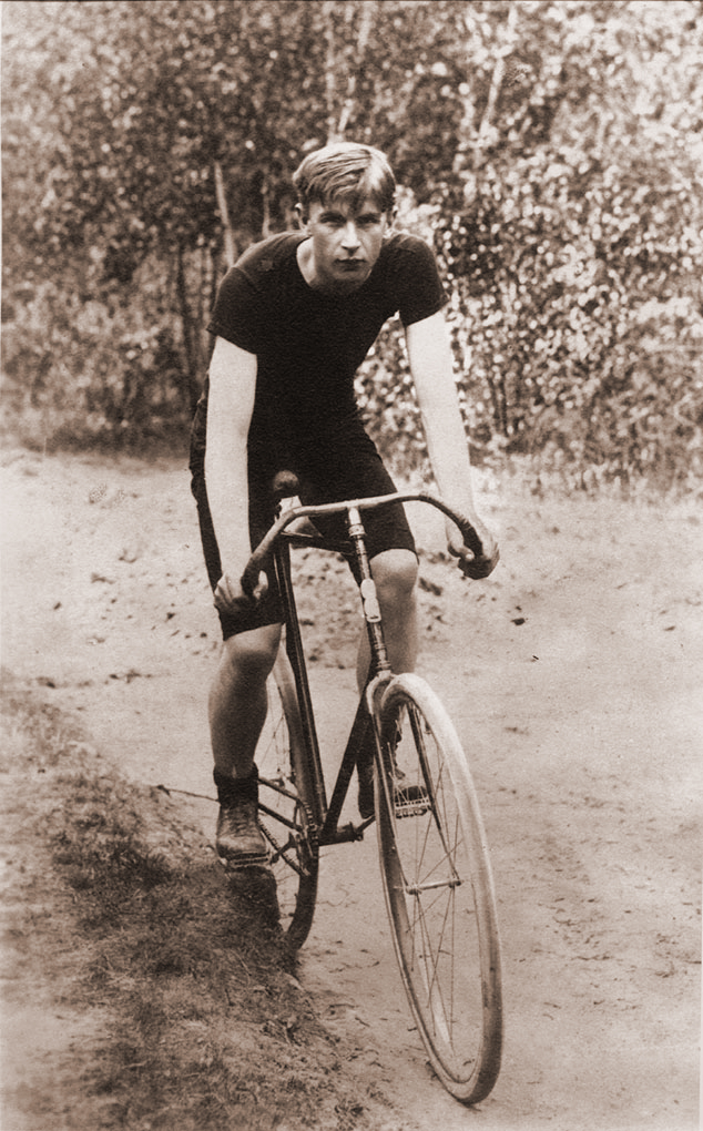 15-year-old Alvan T. Fuller in 1893, riding a bicycle